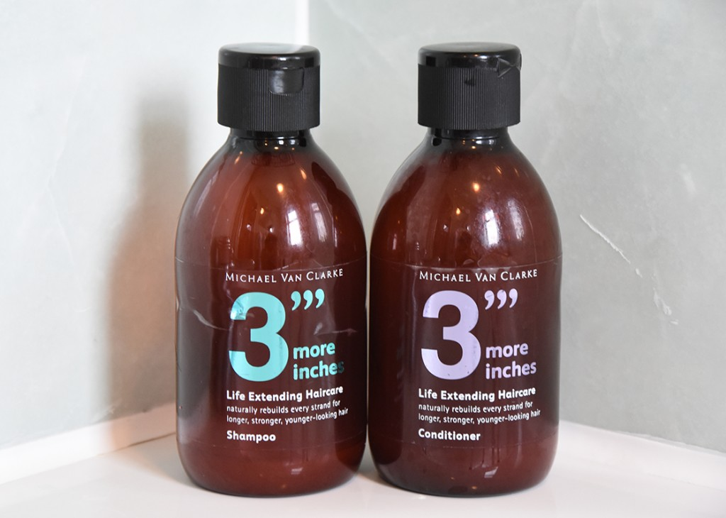 "3""' More Inches by Michael Van Clarke shampoo and conditioner"
